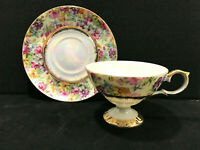 Vintage Lefton China Hand Painted Footed Tea Cup & Saucer Iridescent Floral