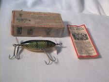 Vintage old wood fishing lure Heddon SOS Perch w/ Box & Paperwork GE