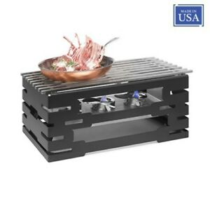 Rosseto Rectangular Chafer-Style Warmer Black Matte with Track Style Grill