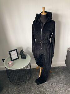 PLT Black Velour Loungewear Jumpsuit Size 8 - Hoodie Drawstring, Jewel Detail