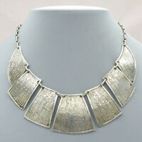 Vintage 800 Silver Egyptian Revival Hieroglyphics Necklace