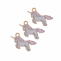 20pcs Jewelry Making Enamel Alloy Colorful Unicorn Pendants Charms Crafts 53294