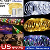 8 Modes LED Rope String Light 5M50LED Strip Fairy Lights IR remote Waterproof