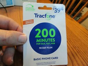 TracFone 200 Minute 90 Day Service Plan Phone Card Talk Text Web Fast Ship
