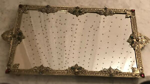 Antique Footed Jeweled Filigree Ormolu Vanity Mirror Tray, Made By Silvercraft