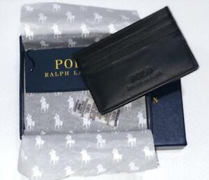 Polo Ralph Lauren Leather Credit Card Holder Wallet 6 Slots Black