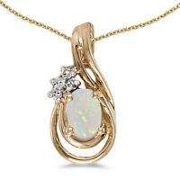 "10k Yellow Gold Oval Opal And Diamond Teardrop Pendant with 16"" Chain"