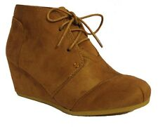 NEW Women Ankle Wedge Booties High Heel Lace up Oxford Boot Casual Fashion Shoe