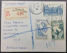 France 1946 Luxembourg Palace Registered Cover Inc Sc 566 & 567, 569 To GB