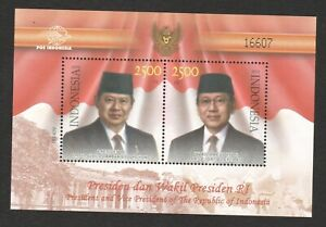 INDONESIA 2010 PRESIDENT YUDHOYONG SOUVENIR SHEET OF 2 STAMPS IN MINT MNH UNUSED