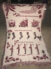 Vintage Night Before Christmas 100% Cotton Woven Blanket Coverlet 50 x 73 SPAIN