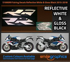 BMW S1000RR Fairing Decals. 2015-18 - Reflective White & Gloss Black Stickers