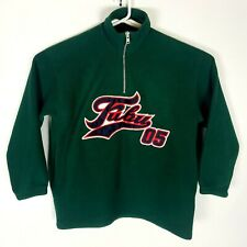Vintage Fubu 05 Mens XL Green Patched Spellout 1/4 Zip USA Made Fleece Pullover