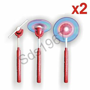 New x2 Flashing light up led spinning windmill toy glows xmas present gift party
