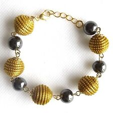 CAPIM NATURAL VEGETABLE GOLD HAEMATITE HEMATITE BRACELET GOLDEN GRASS SPHERES