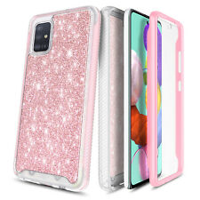 For Samsung Galaxy A71 5G Bling Glitter Built-In Screen Protector Case Cover