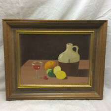 Vintage Painting Fruit Wine and Jar Framed Signed Schlafman Still Life
