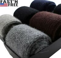 3 Pack Merino 100%Wool Cashmere Sock Men Solid Thick Thermal Winter Warm Socks
