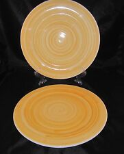 """Lot of 2 Caleca Yellow Brush Service Charger Plates 13"""" D Hand Painted in Italy"""