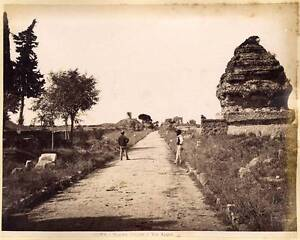 Rome Regina viarum Via Appia Large Vintage photo albuminé vers 1870 Roma