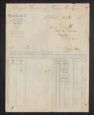 """LE PUY (43) USINE de DENTELLES aux FUSEAUX """"GRAILLE & Co"""" 1925"""