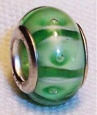 Green White Striped Pattern Murano Glass Bead for Silver European Charm Bracelet