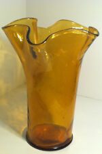 VINTAGE AMBER GOLD GLASS RETRO HANDKERCHIEF VASE MADE IN ITALY