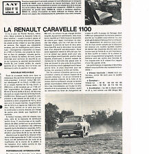 PUBLICITE ADVERTISING  1963    RENAULT  CARAVELLE 1100  ( recto verso)