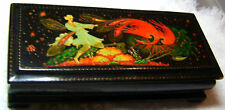 Russian footed hand painted lacquer box Palekh signed