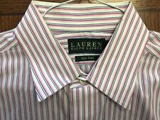 RALPH LAUREN PINK STRIPE COTTON DRESS SHIRT EXC. COND SZ 16-34/35