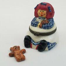 New ListingCeramic Raggedy Ann Hinged Trinket Box ~ Teddy Bear Inside
