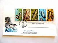 """March 21st, 1986 """"The King Salmon"""" First Day Issue Plate Block"""
