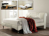 Bed Frame Double King Size Knightbridge in Fabric White Black Crushed Silver