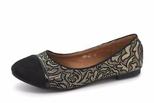 Claudia Ghizzani Older Girls UK 3 EU 36 Black & Metallic Flats Ballerinas Shoes