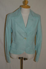 MAX MARA Leather coat teal color blazer jacket lined size 10 US 42 Fr