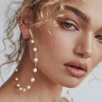 Fashion Dangle Drop Hoop Earrings Pearl Women Big Circle Party Round Jewellery