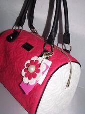 Betsey Johnson Black, WHITE & FUSHIA quilted satchel handbag w/ flower charm
