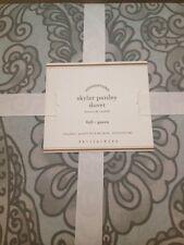3pc NWT Pottery Barn Blue Floral Skylar Paisley Duvet Euro Shams Full Queen Rare
