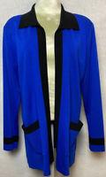 Misook Women's Full Zip Jacket Black Size Medium Open front Pockets Tunic Blazer