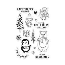 Hero Arts HOLIDAY ANIMALS clear stamp set CM103 penguin. bear. owl. tree