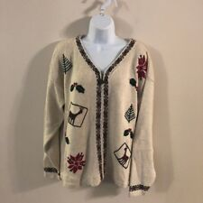 Khaki Christmas Sweater Zipper Cardigan Northern Reflections Large Pines Holly