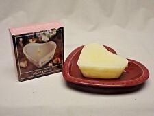 Longaberger Pottery Paprika Sweetheart Heart Plate with Longaberger Heart Candle