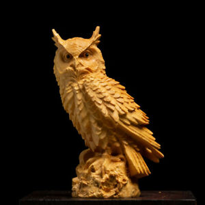 Boxwood Hand-Carved Owl Figures Wood Craft Gift Sculpture Artwork Statue