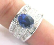Oval Ceylon Sapphire WIDE Diamond White Gold Anniversary Ring 14Kt 4.34Ct 14mm