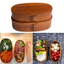 2 Layer Japanese Bento Boxes Wooden Lunch Box Sushi Portable Bowl Food Container