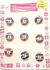 Sewing Buttons Nouveaute Red White Blue Plastic 9 Vintage on Card
