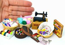Haberdashery Sewing Machine Scissors Basket Buttons Dolls House Miniature