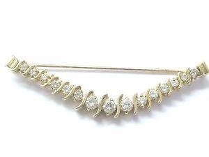 "Natural Round Diamond Bar Setting Yellow Gold Pin Brooch 14Kt 1.26Ct 2.5"""