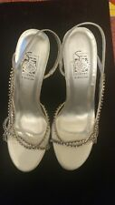 Special Occasion Silver Rhinestone Heels Shoes Size 7 New In Box awesome