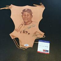 Rare Willie Mays Signed Autographed Original Leather Artwork With PSA DNA COA